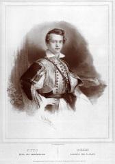 Πορτραίτο του Όθωνα με φουστανέλα την περίοδο της Αντιβασιλείας. Λιθογραφία Gottlieb Bodmer (1804 - 1837).